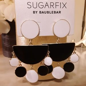 Black & White Half Moon Enamel Earrings